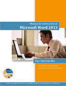 Manual de instrucción de Microsoft Word 2013:  intermedio
